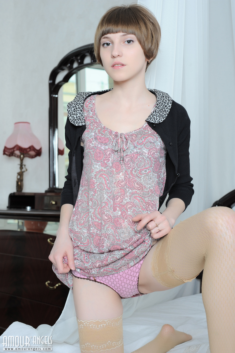Tender Teen Girl Gets Nude On A Bed Revealing Her Tiny Titties And ...
