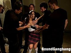 Hot Brunette Fantasizes of Being Dressed in Uniform and Aggressively Assfucked by a group of people having sex Men : Kristina Rose falls asleep at a slumber party and imagines herself in trapped in a large building being chased by men. When she is eventually captured she is bound in electrical tape and shoved up against a post where the men take turns on her asshole. She wakes up satisfied from one of the best dreams shes ever had.
