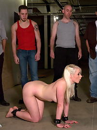 Public Gangbang 1 a group of people having sex : Whats better than seeing a girl tied up and fucked by a hard cock? How about seeing a girl tied up and fucked by not one, but eight hard cocks! In this shoot, longtime Kink.com favorite Lorelei Lee is led through the armory on a leash, and winds up in the shop surrounded by a group of people having sex workers, eager to see a scene in action. Lucky for them Princess Donna doesnt want them just to watch the show, she wants them to be the show. At Donnas direction Lorelei gets on her knees and opens her mouth, pussy, and ass for every guy who comes in the door. She is bound and fucked in all her holes, gets eight loads of cum on her face, and then finally she is secured to a fence and made to cum hard until she screams while everyone watches and fondles her helpless body!