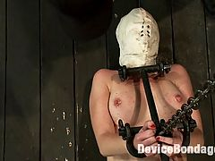 It Burns! : We lay Devon Taylor on the floor on her back and lock her into a full body metal stock, chained to the ceiling to hold her legs up so we can easily get to her smooth pink. We stuff her pretty little face into a white hood to muffle her sounds. We suction her nipples, then apply a special balm, which creates a burning sensation when we blow on them. Devons ass turns nice and red from some hard flogging. We drill her wet cunt with dick, and then break out the cattle prod. Even just the sound it makes terrifies her, but Devon takes a couple of prods on her ass, so we let her hungry whore pussy have what it wants and give her an orgasm. We pull off the hood and zipper Devon from nipples to calves before ripping two more orgasms from that dripping cunt.