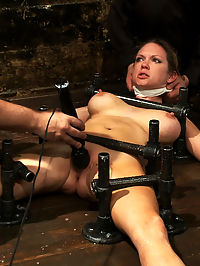 Orgasm Denial she is cumming : This is part 3 of 4 from the June live show.Rain is bolted down onto a platform. Legs and arms spread. Chest pinned down. she is cumming immediately hosed down. Every time she screams, she gets sprayed in the face. When she doesnt make enough noise, she gets sprayed on her already sore cunt. she is cumming denied orgasms. She screams in frustration through the wet cloth wrapped around her face. Breathing is difficult under these conditions and the water makes it harder. Having her pussy tormented with almost cumming over and over again seems to be the real challenge here for the orgasm whore.