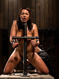 Amateur girl seeks hard bondage pussy in the nude : First timer, Eden Coxxx, is introduced to the rigidity of metal bondage. Any range of movement is intentional, but she quickly learns that its better to stay still than fight against the restraints. Scene 1 She is bound by the neck, cuffs biting at her wrists, on her knees with her ankles. Her legs are kept open by the spiked spreader. She is already perspiring before a flogger is laid into her backside. Scene 2 Eden is strapped to the pipe system into a modified hogtie. Her legs are spread with her pussy in the nude open to be stuffed with a dildo and vibe. Her tongue tied and extended keeping this soon to be bondage slut gagged by her own tongue.Scene 3 Inverted Sybian. Time to fuck up this girls perspective. Upside down with the worlds strongest vibrator smashed into her cunt. Her arms are splinted into strapado and tied to her neck just for kicks. After some strategic caning she is dominated by the monstrous vibration.
