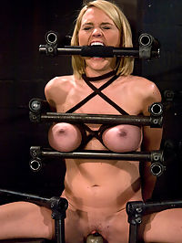 Krissy Lynn Hot Californian blond, faces orgasm overload! : Krissy Lynn has been custom bound to and oak chair, spread, and stuck on a vibrator.With no hope to escape or even move, Krissy is trapped as a dildo fills her wet pussy and a vibrator attacks her helpless clit. There is nothing that our California girl can do to get off the vibrator as it rips orgasm after orgasm out of her helpless body. Well there is one thing she can do, she can beg us to stop making her cum, but why would we do that?