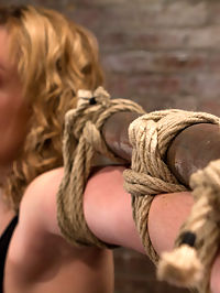 Former runway and fashion model is back and helplessPowerful orgasms are ripped from her sexy pussy. bondage with rope : Welcome back Lily LaBeau. Lily is the first model invited back for a second day since Matt Williams has taken back over. This speaks volumes for this girls talents. This sexy 20yr old blond is simply stunning. Smart, incredible body and a twisted sex drive that is definitely in our lane of traffic. We start simple by binding her to a metal pole, squatting and spread. As we rip and cut her clothing off we ramp up the intensity. We abuse and torment her big nipples and we vibrate her sensitive clit. But the real fun starts when we bind her ankles bondage with rope and pull her up to a flying partial suspension. In this brutal position we rip orgasm after orgasm out of her helpless body. There is nothing she can to do to stop from cumming her brains out.