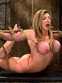 MILF with EE tits has so many orgasms ripped out of herCries from the brutal emotion of it all allergic to cum : Sara Jay is 100 woman. Amazing ass, huge EE breast, and the softest, smoothest skin a person can have. This is one of the most helpless hogties we have ever created. Her legs are spread and we can sexually abuse her clit and pussy. There is nothing, nothing at all that she can do to even slow us down. We attack her and never let up, we rip orgasm after orgasm out of this hot MILF until she literally thinks she will go insane. Then we make her come more, tears form and she begins to cry. She has never been made allergic to cum so much, so often, and the realization hits her that there is nothing she can do to stop us from making her cum at will. She is slowly milked of her sanity one orgasm at time... Lets not forget the incredible bondage position she endures, the backbreaking arch of a brutal Hogtied suspension. Never has someone looked so good, and so fucked up at the same time.