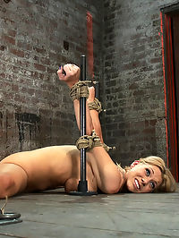 Flexible Blond MILF is tied in the splits. We cane, flog and make this mom cum like a whore. cum and go : Welcome back Samantha Sin to Hogtied. This smoking hot flexible MILF has a perfect ass and huge tan tits! There is nothing hotter then tying up someones Mom and making her cum like a common whore.With baling twine keeping her toned legs spread, and her arms brutally bound into a strappado, Samantha finds herself in a very compromising position. Her ass is just begging to be caned and flogged. Her asshole and pussy begging for attention. Samantha makes the cutest noises when you whack on her. She begs, barters, and pleads. We pay no attention and that only annoys her more. When we feel she has had enough pain we make this Mom cum and go cum like a common whore. There is nothing she can do to stop her body from orgasming over and over.
