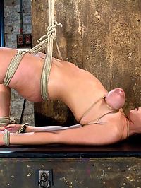 Girl next door suffersCategory 5 Suspension Extreme Orgasms to sub-space. bondage and sex : Brooke Lee Adams is back and in serious trouble. She is about to suffer through the hardest bondage and sex extreme orgasm ordeal she has ever experienced!! With her sexy perky breasts brutally bound and her back beautifully arched, Brookes wet, shaved pussy is ours to torment. By torment I mean make cum over and over and over, until her eyes roll back into her head. We pull the bondage tighter and tighter yet she still cums, she is helpless in stopping her body for orgasming. Each pathetic whimper for mercy she utters feeds our desire to see her suffer. The orgasms are so strong and she begs so deliciously for us to stop making her cum. We do stop eventually but not until she is lost in deep sub-space, gone....