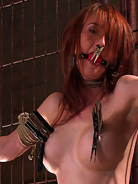 Hot Redheaded Prisoner Made to endure multiple orgasms after a threesome : Kendra is back again on Hogtied after a threesome few years hiatus and she has a lot of catching up to do... Bound and gagged she is made to endure clamps, clips, intense orgasms, and even water methods....