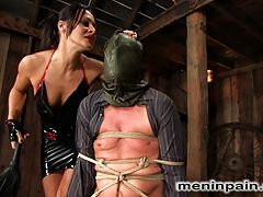 Humiliated bitch boy anal strap on : Sandra Romain has a way with words, and when she interrogates this poor boy in her native language, he is loathe to disappoint her. Hooded, gagged and bound, juliann takes brutal punishment from the sadistic mistress including anal strap on sucking and a mean ass fucking. Finally bound to please, she smothers his hungry face in her ass, pussy and tits till she finally gets off over his bound body and leaves him for the clean up crew.