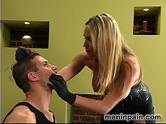 Starring Harmony, Sebastian hard anal fisting : Harmony is the new Queen of MenInPain. She is so sexy, so beautiful and so cruel all at once! She likes her subs to be obedient and always tied up...Sebastian is bound when getting slapped, while worshipping her feet and most importantly when his cock is used for her pleasure he is tied down to the bed frame. He cums without asking permission and is made to lick Harmonys luscious ass clean. Once she is satisfied his balls are tied super tight and pulled up to the ceiling...this position presents his ass nicely for some hard anal fisting fucking.