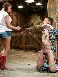 Starring Tory Lane, Wild Bill tight ass pants : Mistress Tory Lane is sexy, unstoppable and so creative in Her domination that its hard to keep up with Her! Today She punishes wild bill for not properly cleaning the stalls of Her barn. She kicks his balls with the Her boots, bites his nipples as he squeals in pain and smothers his face with Her lovely breasts. Heavy weights swing from his balls while Tory pounds his tight ass pants hole and She ends his punishment with a milking from a suction machine. This update is not to be missed!