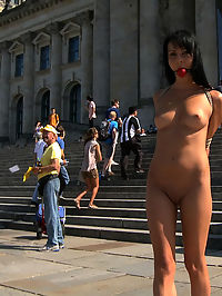 Take me to the Streets blood in cum : This weeks update takes us back to the streets of Europe for more public nudity, bondage, and sex. Felicia is an adorable European hottie who gets bound and made to strip in front of a very famous, and very busy building. Then she is fucked, groped by strangers, and covered blood in cum before being paraded through the streets again.