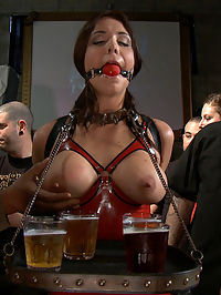 Bikers, Boobs, Babes free hot girls : Beverly Hills gets taken to a biker bar, made to serve drinks, suck cock, and get fucked while in bondage. Some free hot girls from the bar join in on the fun and make Beverly lick pussy and take strap-on cock in her mouth and cunt. Combine that with the two dudes who cum on her pretty face and youve got yourself one hell of a public disgrace.