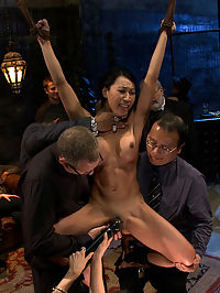 Tia Ling loads of cum shots : What kind of girl lets five or six big cocks fuck the shit out of her in front of a crowd of strangers? The most amazing kind, obviously. Everyone at the party gets their hands on Tia, she is strung up in a painful wrist suspension while people laugh and drink around her. She gets fucked air-tight, with a cock in every hole.All I can think about when I watch this is, this is somebodys daughter. God Id love to shake the parents hands that made her into what she is today, which is awesome!Once the action starts hardly a second goes by where theres not cock in her ass, pussy, or mouth. She gets dicked down for 90 minutes and takes multiple massive loads of cum shots on her face while she is held helpless and exposed by wooden stocks.Tia Ling was given a natural born talent, and that talent comes in very handy here at Public Disgrace.
