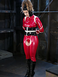 Starring Joey Ray, Ramona : Ramona is a pretty girl who is used to normal sex. With hands tied behind her back, Joey Ray passionately warms her up. We then transform this girl next door into a fetish slut. Dressed in latex, a tight corset and boots, she sucks cock and gets fucked in bondage.