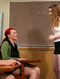 Starring Princess Kali, Lorelei Lee, Dana DeArmond cute college girl of the day : Lorelei and Dana get caught giggling in Princess Kalis sex education class. The topic cute college girl of the day changes to stimulation of the ass and is demonstrated on the two disobedient students. The sexual humiliation continues with instructions on kissing, licking pussy, and getting fucked.