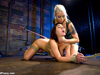 Big tit brunette gets tied up, shocked and fucked by Lorelei Lee cum by ya : Claire Dames is strung up helpless, then shocked and made to cum by ya super hot Mistress Lorelei Lee. These two babes have smokin hot chemistry in this update filled with tight bondage, big tits, electrical toys, strong vibrators, pussy licking, dildo gags, and more!!!