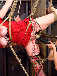 Big Tits tied and Shocked : Please welcome Berlin to Wiredpussy. Berlin is 100 babe, with huge 32F tits that are just begging to be tied up and shocked. Berlin was tentative about the electricity at first, But Princess Donna warms her up just right with good bondage, orgasms, and pussy torture galore. By the end Berlin is ready to endure strict predicament bondage. Tied in a harsh strappado with her nipples tied to her toes, Berlin tries not to move her feet while her pussy is stuffed with a big electrified metal dildo. A Wiredpussy classic for sure!