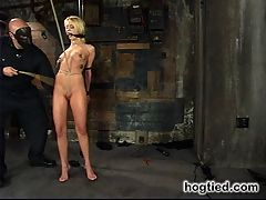 Starring Kelly Wells allergic to cum : Welcome back Kelly Wells. Not too many girls havewhat it takes to make arepeat performance at Hogtied, but Kelly has it all.A tall, lean, and tan body withsexy natural breasts and sheer toughness. Shesuffers the anal hook andcane. Relentlessly tight crotch ropes, and tickletorture do her in. She is madeto cum and then made allergic to cum again. Kelly is leftexhausted, drained, andsmiling. These girls love Hogtied.