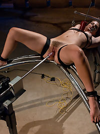 Bobbi Starr returns rope for bondage : What do you do to Bobbi Starr, the girl who got her start her at kink.com, the girl who on her very first shoot swallowed cock the size of her arm? Well, just about anything she wants to do! Bobbi returns to fuckingmachines anxious rope for bondage since its been over a year since shes been tied up. She is bound to the DominateHer with her nipples clamped tight in the grips of the Tittie Twister and the Dragon planted deep inside her with an 11 inch cock which she can not escape, then turn up the volume on the whole scene and make her cum until she begs for mercy! Hot damn, and thats just the first scene. The hardest scene is, you guessed it - the Autozipper since Bobbi has to push the button on the machine that will zip the clothes pins off her flesh in under 3 seconds as she cums. She resist the urge to orgasm for as long as she can until she has no choice but to cum and endure the surge of pleasure and pain at the same time. Also, here is the debut ride of the new machine, The Spreader. Thanks for helping name the beast that spreads Bobbi wide and fucks her. We considered naming it the Starr fucker! Bobbi does not disappoint in this sexy return to machine fucking.