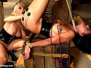 Hot MILF gets her ass Worked Over Wiredpussy Style hardcore lesbian porn : Lorelei Lee binds Roxanne Hall, pounds her ass with her fist, shocks her with a variety of electrical toys, canes her feet, and uses her tongue to get herself off. Great chemistry and hardcore lesbian porn BDSM!