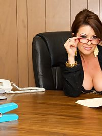 Busty milf cant resist her new employees huge cock!
