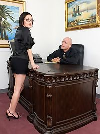 Horny boss nailing his busty secretary on his desk
