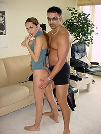 Petite brunette gets nailed from behind