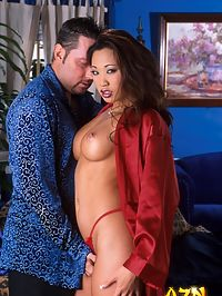 A busty Asian bombshell sucking and fucking like a pro