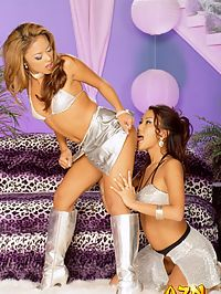 Two Asian girls enjoy some wild and crazy lesbian action