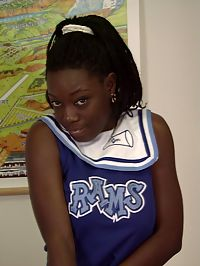 Tasty ebony babe in cheerleaders outfit