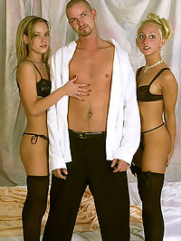 Stocking clad blondes get into double trouble