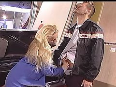 Blond In Stockings Sodomized On Car Boot