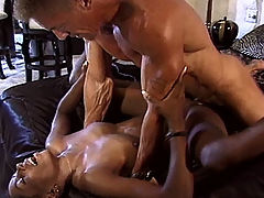 Ebony amateur gets double teamed while her husband watches