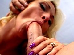 Busty blonde mature amateur deep throating a hard prick