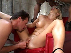 Big titted blonde is oiled up and fucked hard
