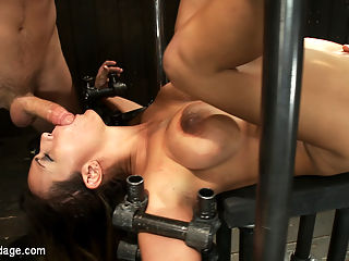Trina gets cock stuffed and fisted : This is part 3 of 4 from the July live show.Trina is lain out, legs and arms bound wide. She is on her back, ready to be fucked in all holes. Her mouth is to be jammed with cock while her ass and pussy are fiercely fucked by James Deens big dick and Princess Donnas mighty strap-on. Trina is properly used and fucked in all manners before she is fisted in the ass and pussy. Then she is made to cum and squirt. Relentless fucking has never been so glorified.
