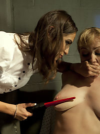 Wayward Slut Treatment : Its more than meets the eye and Adrianna Nicole cant remember how or why she was brought to the mental hospital and Amber Rayne, the sadistic doctor, shows no mercy. Adrianna is questioned and violated by the sexy lesbian doctor and made to answer questions with pulses surging through her body. Shes put through a series of tests and treatments that end in orgasms flowing from her body whether she likes it or not. Sticky pads, electrified butt plug, pussy clamps and samurai are all included.