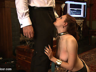 Service Day Tight Squeeze : Todays service session is all about putting beautiful house slaves into tight places. House slave grace is placed in a wooden box while robot gets the Steward hard with her mouth and breasts. Then grace is placed in tight and restrictive rope bondage and made to fight robot for the Stewards cock in her mouth. Both girls play nasty for the right to service the Steward, but both win in the end.