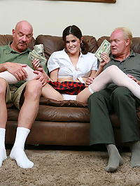 Kendra was collecting coins for her candy cache when she came close to the cunt-happy carpet crooners. Dick and Rob offered to buy all of the candy to free up her time for them to fondle her. She found that camp will never match the fun she had getting there.