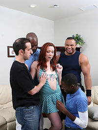 The GBS Investigation Agency has caught this red head, red handed and they have the tape to prove it. Now this slut will have to give it up to all four of our investigators if she wants to keep her jungle fever a secret from her rich white husband. Her negotiation skills are as sore as her ass, pussy and throat when were done punishing this cheating whore.
