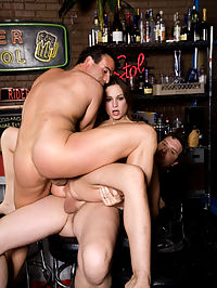 It may be closing time, but Amber Rayne is about to get her pink pussy and elastic asshole opened WAY the fuck up in her first ever DP double-fuck! Claudio and Otto could hardly wait for the bar to close to get the chance to lay this petite piece of woman across the bar table and double-dick her with their massive man-mallets!