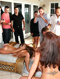 The orgy moves onward and upward as the girls help the guys work their wood on the wicker. Before the sun goes down, the energy drink of choice for the evening will be penis colossus served up facial style! 4 of 4