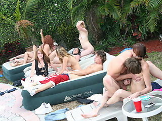 Poolside we meet a few party goers in cutiey bikinis and these beach blanket bangers are ready to fuck! Watch as this barbecue goes from fun in the sun to deep dicking in this orgy sex party!