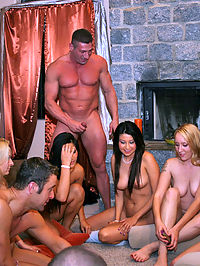 Its jet set meets cock rocket as these lovely socialites give hedonism a chance! These jet set cuties took turns polishing Johns knob and taking every inch in their privileged pussies! Watch as blue blooded babes meet a purple headed rod in this steamy orgy sex party!