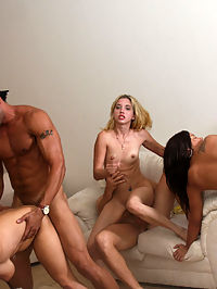This pack of party-goers sneaks off to the nearest bedroom to initiate the interior with their juices of joy! These salacious sluts get their every hot hole jammed with cock after cock in a cervix scraping, cock gagging group sex orgy for the ages.