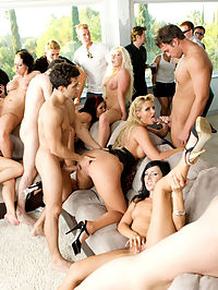 After some fun in the fountain this ORGY kicks into high gear, puts the pedal to the floor and peel the pussy as Amber, Ashli, Claire and Holly spread out on the couch for an all-girl group sex fuck-fest. But then the boys pull out their big cocks and thats when the party goes into overdrive!