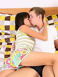 Horny teen muff drilled : Beautiful brunette teen explores her body using her boyfriends cock!