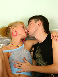 Teen girl in action : Adorable blonde teen cutie sucking and fucking