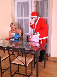 Teen bangs Santa : Santa fucks a tight blonde teen girl